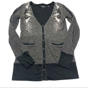 ❤️ Miss Me Sequin Embroidered Gray Marled Cardigan